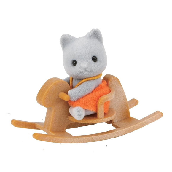 Sylvanian Families Grey Cat Baby with Rocking Horse - AnimalKingdoms.co.nz