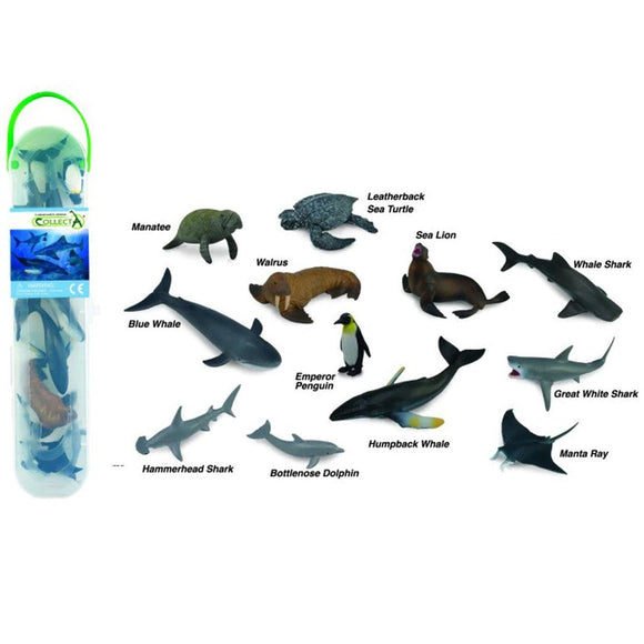 CollectA Mini Sea Life Tube 12 Piece (B)-89A1107-Animal Kingdoms Toy Store