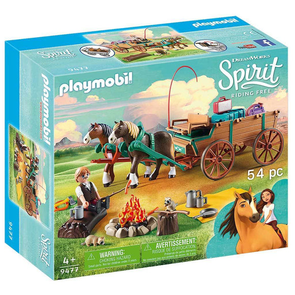 Playmobil DreamWorks Spirit Riding Free Lucky's Dad and Wagon-909477-Animal Kingdoms Toy Store