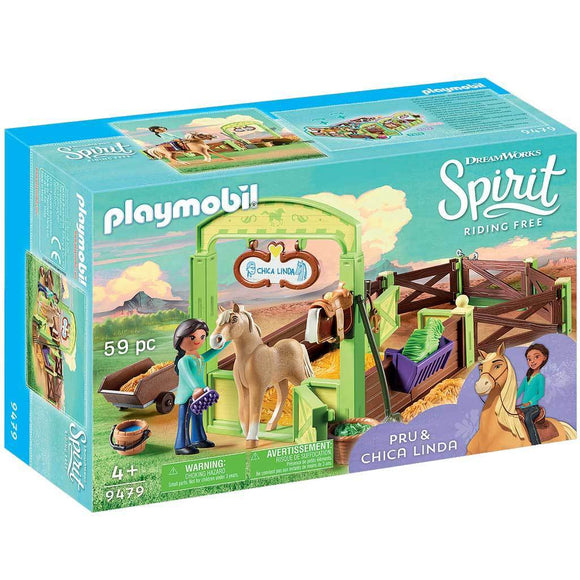 Playmobil DreamWorks Spirit Riding Free Pru & Chica Linda with Horse Stall-909479-Animal Kingdoms Toy Store