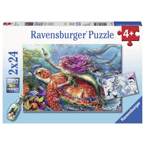 Ravensburger Mermaid Adventures Puzzle 2x24pc-RB07834-9-Animal Kingdoms Toy Store