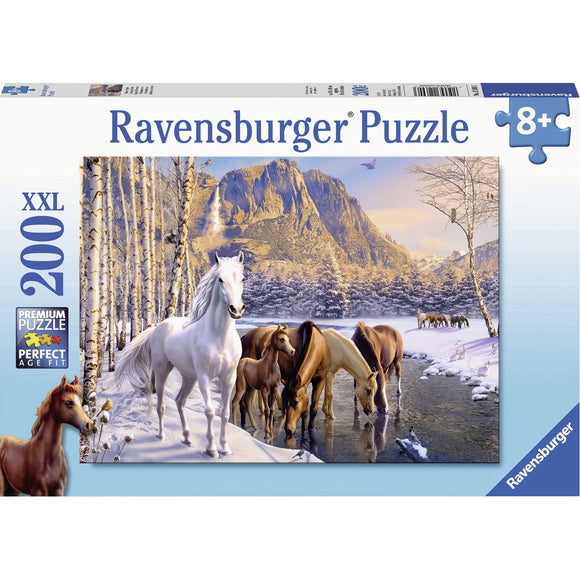 Ravensburger Winter Horses Puzzle 200pc-RB12690-3-Animal Kingdoms Toy Store