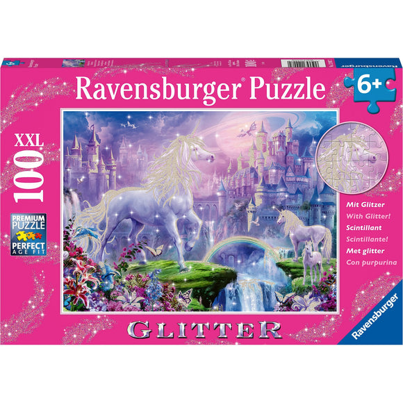 Ravensburger Unicorn Kingdom Puzzle GLITTER 100pc-RB12907-2-Animal Kingdoms Toy Store