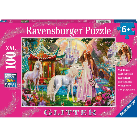 Ravensburger Princess with Unicorn Puzzle GLITTER 100pc-RB13617-9-Animal Kingdoms Toy Store