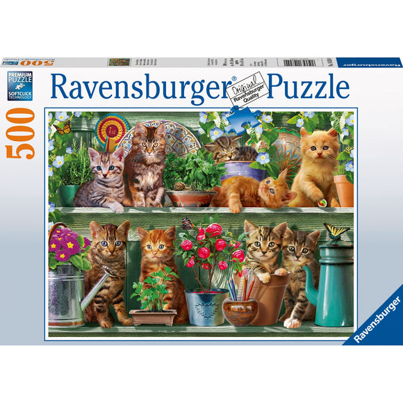 Ravensburger Cats on the Shelf Puzzle 500pc - AnimalKingdoms.co.nz