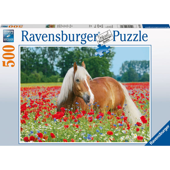 Ravensburger Horse in the Poppy Field Puzzle 500pc-RB14831-8-Animal Kingdoms Toy Store