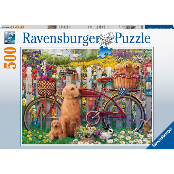 Ravensburger Cute Dogs in the Garden 500pc - AnimalKingdoms.co.nz
