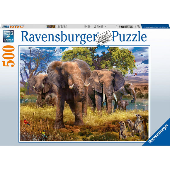 Ravensburger Elephant Family 500pc-RB15040-3-Animal Kingdoms Toy Store