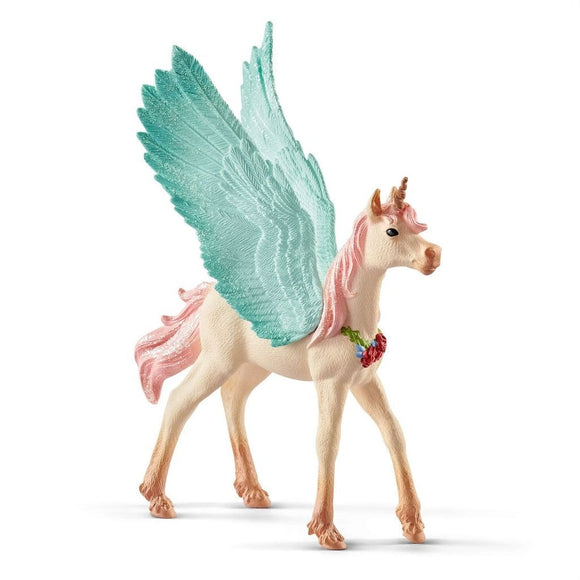 Schleich Decorated Unicorn Pegasus Foal-70575-Animal Kingdoms Toy Store