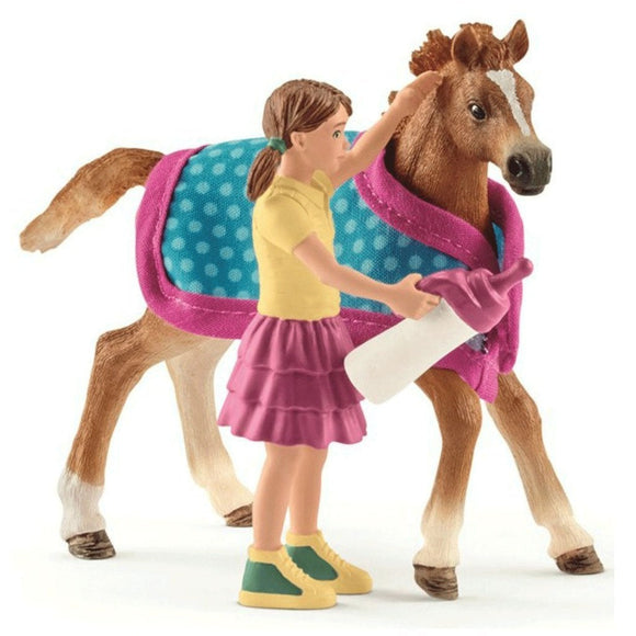 Schleich Foal with Blanket-42361-Animal Kingdoms Toy Store