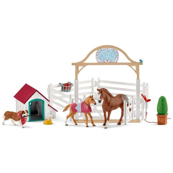 Schleich Hannah's Guest Horses with Ruby the Dog-42458-Animal Kingdoms Toy Store