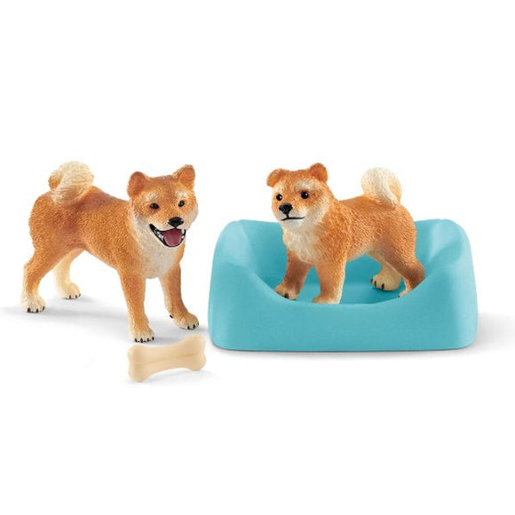 Schleich Shiba Inu Mother and Puppy-42479-Animal Kingdoms Toy Store