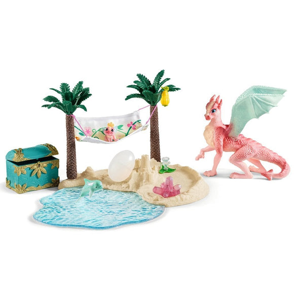 Schleich Treasure Island with Dragon Mama and Baby-42436-Animal Kingdoms Toy Store