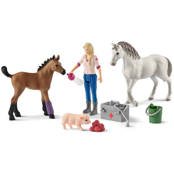 Schleich Vet visiting mare and foal - AnimalKingdoms.co.nz