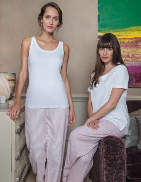Brushed Pastel Pyjama Trousers (bltf) - Pink Stripe | Bonsoir of London
