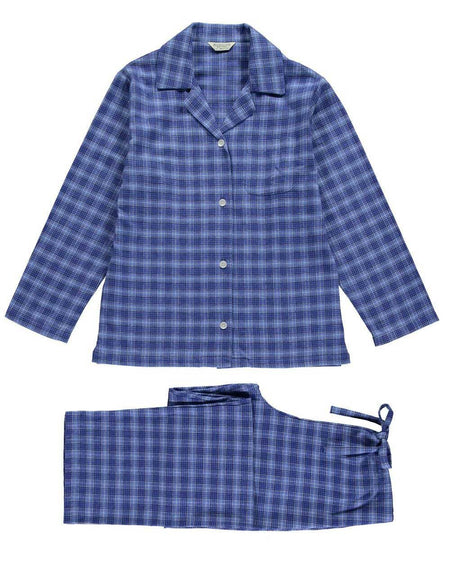 Women's Brushed Cotton Pyjamas - Fellside Blue