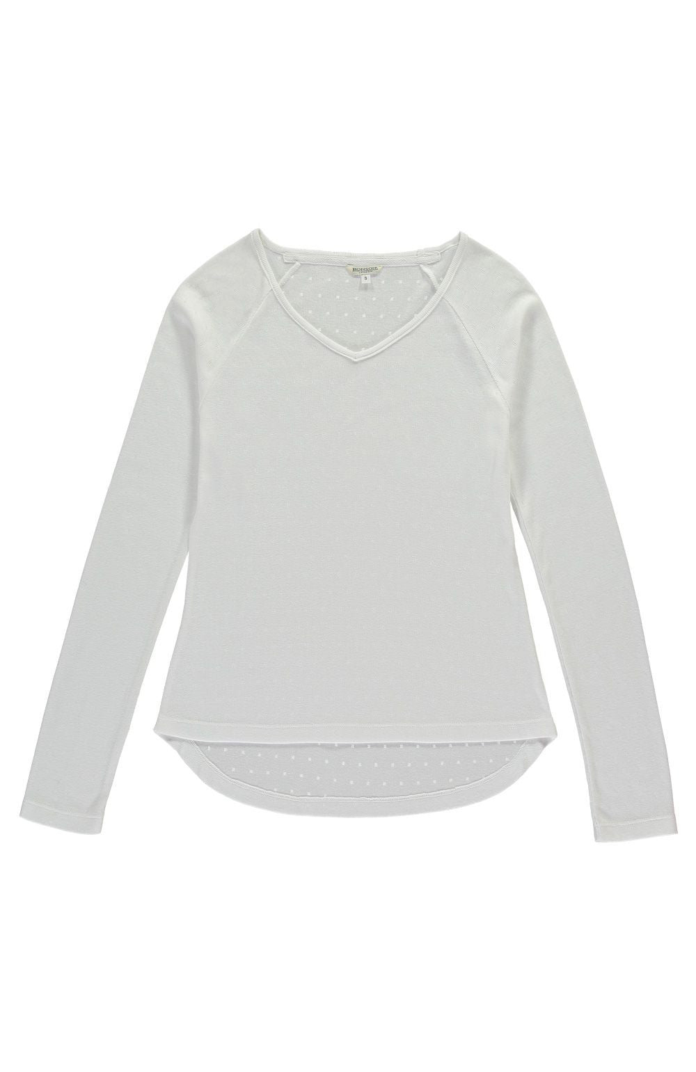 Pointelle Raglan Sleeve Top (lkpr) - White