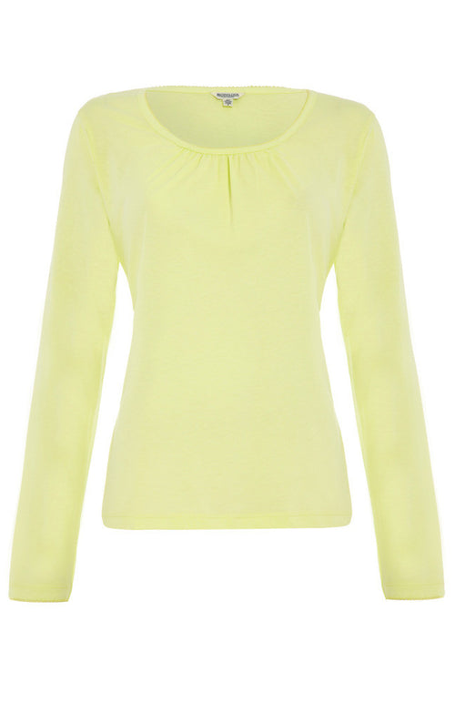 Long Sleeved Gather Front T-Shirt (lslv) - Citrus