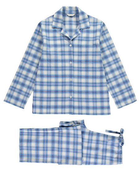 Women's Brushed Cotton Pyjamas - Blue Plaid