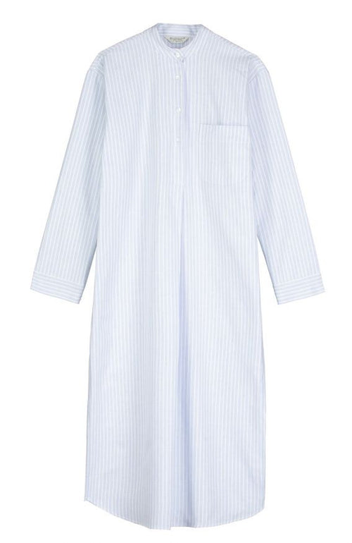 BRUSHED PASTEL GRANDAD NIGHTSHIRT - BLUE STRIPE | Bonsoir of London