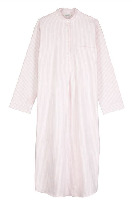 Brushed Pastel Grandad Nightshirt (bllg) - Pink Stripe | Bonsoir of London