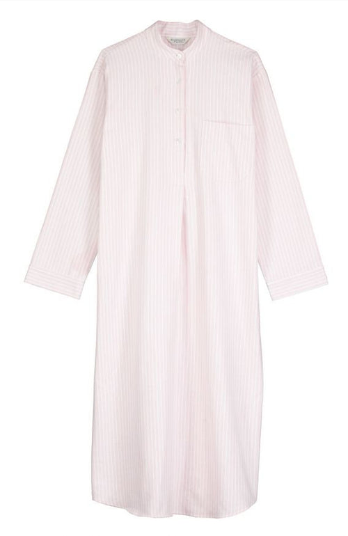BRUSHED PASTEL GRANDAD NIGHTSHIRT - PINK STRIPE | Bonsoir of London