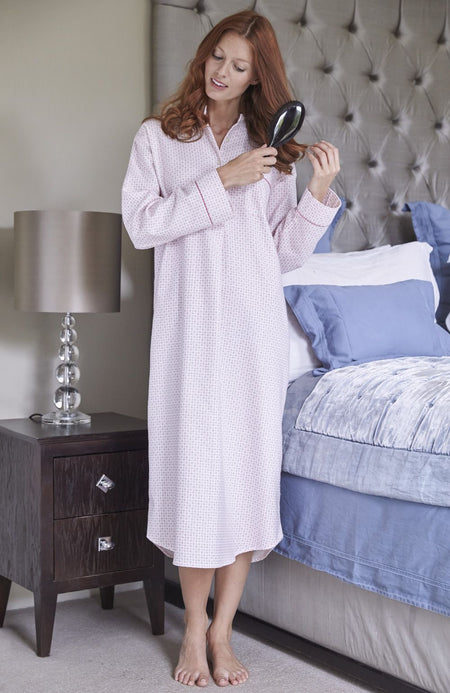 Brushed Pastel Grandad Nightshirt (bllg) - Pink Spot | Bonsoir of London