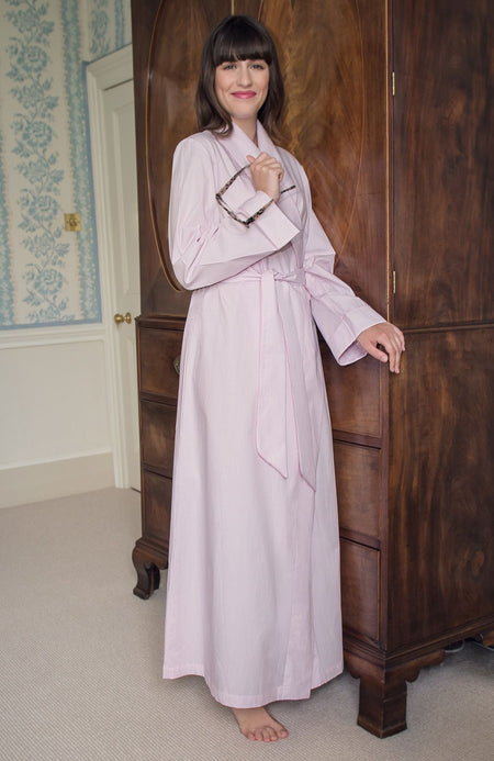 Cotton Gown (clfg) - Pink Fine Stripe | Bonsoir of London