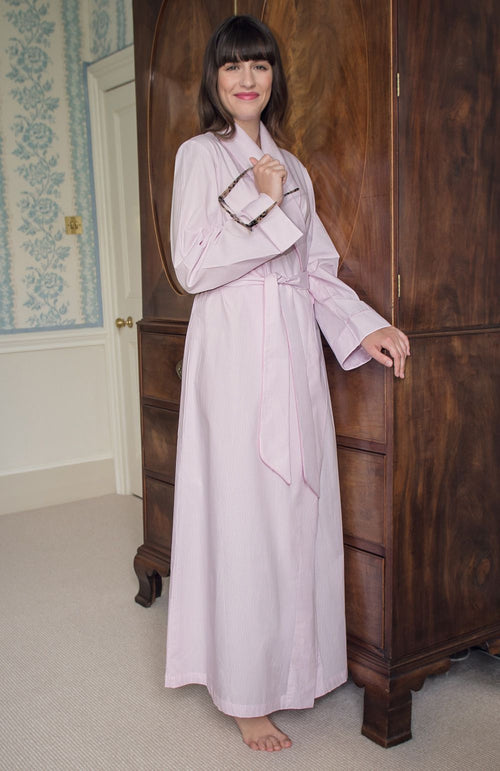 CLASSIC COTTON GOWN - PINK FINE STRIPE