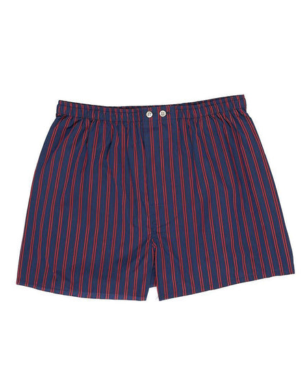 Men's Navy Red Stripe Two-Fold Cotton Boxer Shorts | Bonsoir of London