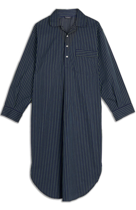 Men's Navy Green Stripe Two-Fold Cotton Nightshirt | Bonsoir of London