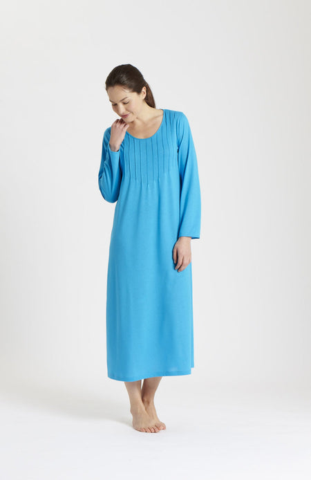 French Pleat Long Sleeve Nightdress (3241) - Peacock | Bonsoir of London