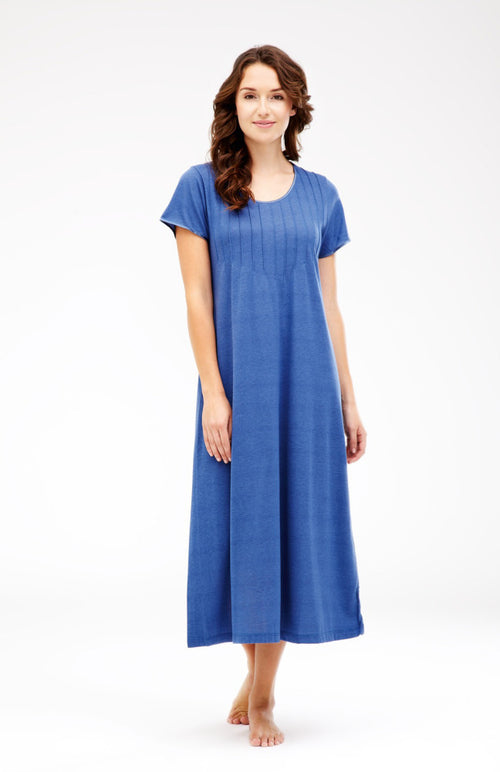 French Pleat Short Sleeve Nightdress (3111) - French Blue | Bonsoir of London