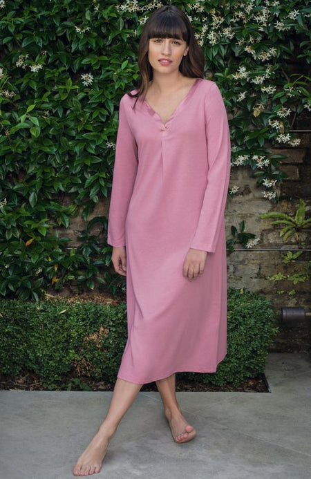 Lottie Long Sleeve Nightdress (lond) - Vintage Pink