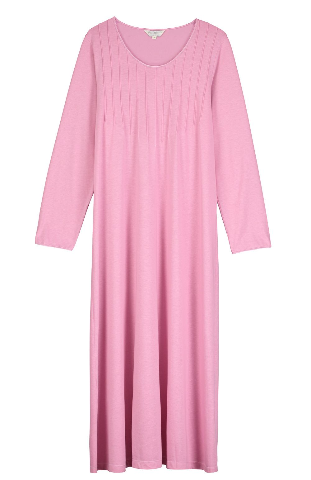 French Pleat Long Sleeve Nightdress (3241) - Vintage Pink  e612f369a