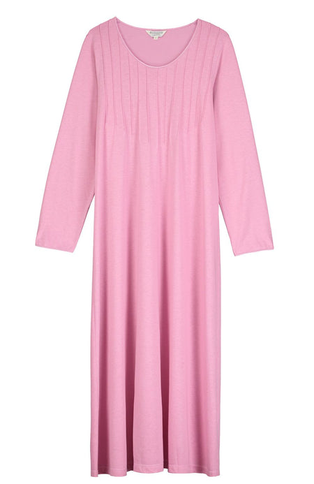 French Pleat Long Sleeve Nightdress (3241) - Vintage Pink | Bonsoir of London
