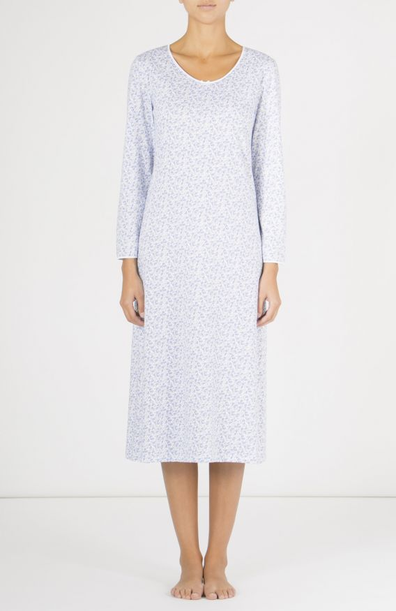 AMELIE LONG SLEEVE NIGHTDRESS - BLUE FLORAL