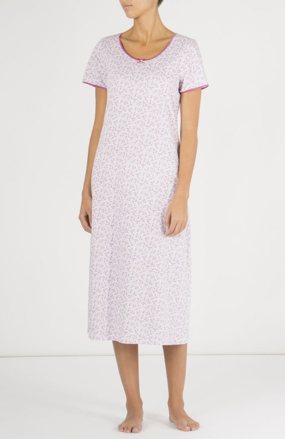 Amelie Short Sleeve Nightdress (amsn)- Berry Floral | Bonsoir of London