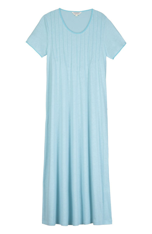 FRENCH PLEAT SHORT SLEEVE NIGHTDRESS - AQUA | Bonsoir of London