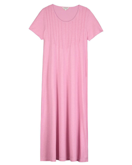 French Pleat Short Sleeve Nightdress (3111) - Vintage Pink | Bonsoir of London