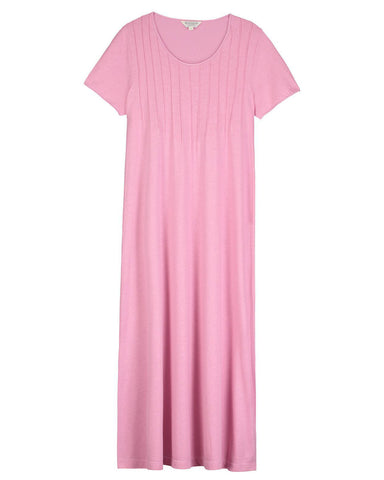 French Pleat Short Sleeve Nightdress (3111) - Dove
