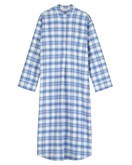 Women's Brushed Cotton Grandad Nightshirt - Cara