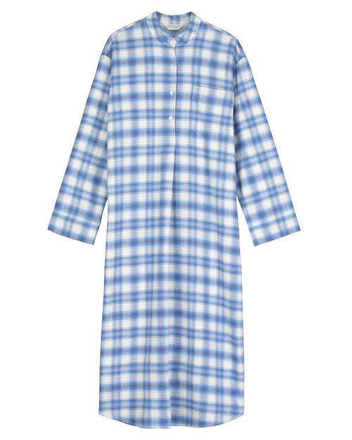 Brushed Tartan Grandad Nightshirt (tllg) - Cara | Bonsoir of London