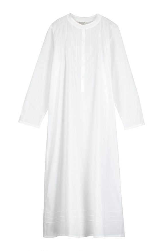 Women's Long Sleeved White Nightdress | Bonsoir of London