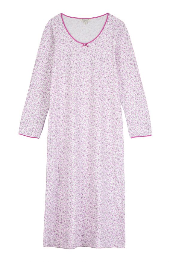 Amelie Long Sleeve Nightdress (amnd)- Berry Floral | Bonsoir of London