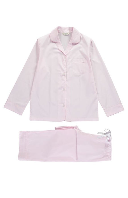 Classic Cotton Pyjamas (clfp) - Pink With Striped Piping | Bonsoir of London