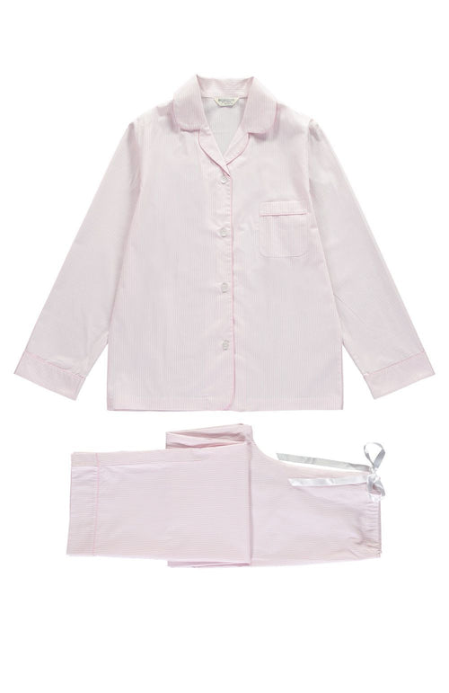 Classic Cotton Pyjamas (clfp) - Pink Fine Stripe | Bonsoir of London