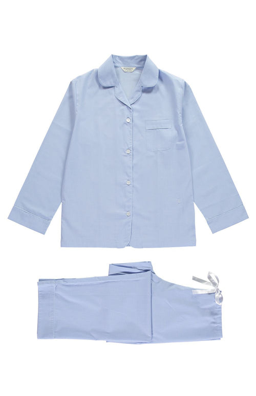 Cotton Pyjamas (clfp) - Blue With Stripe Piping | Bonsoir of London