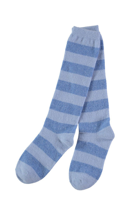 Knee Length Lambswool Socks (socl) - Blue Stripe