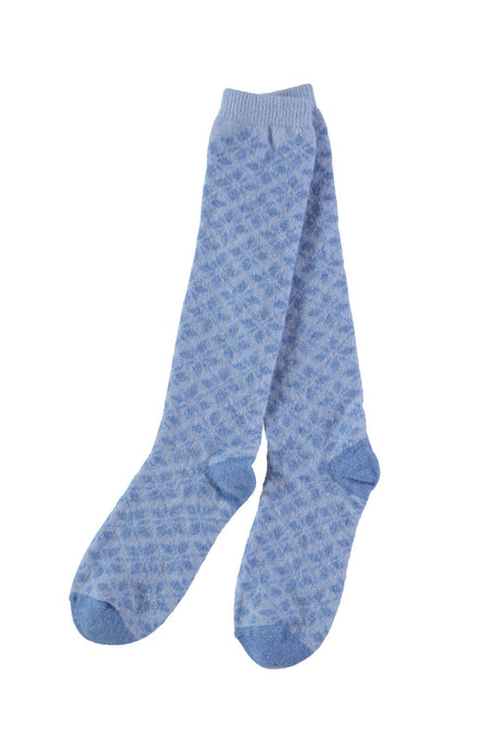 Knee Length Lambswool Socks (socl) - Blue Snowflake
